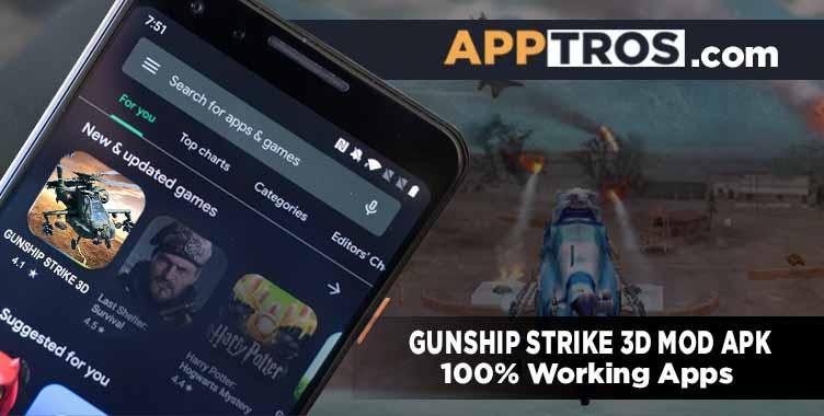 Gunship strike 3D mod apk banner